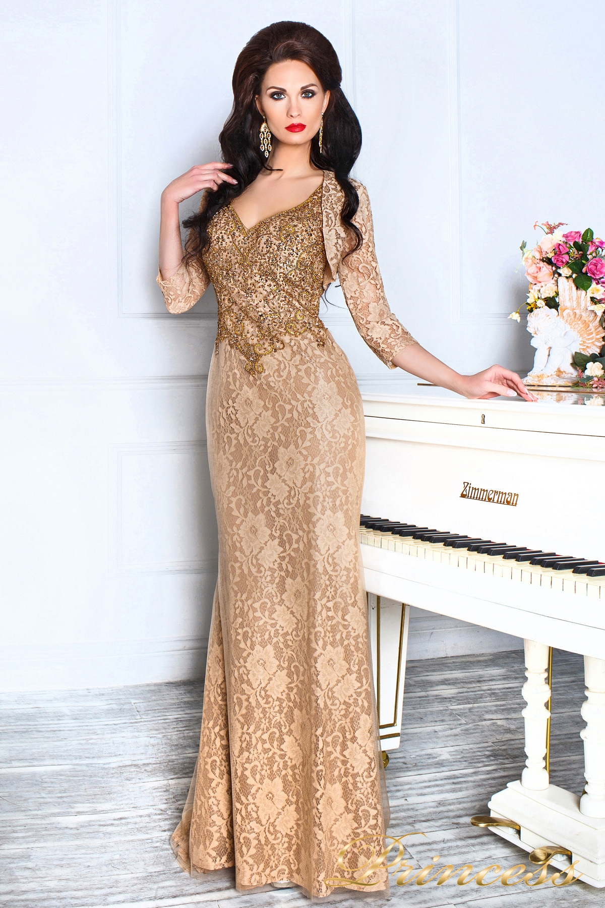 087b6d5a6aa Купить вечернее платье 12082 коричневого цвета по цене 41000 руб. в ...