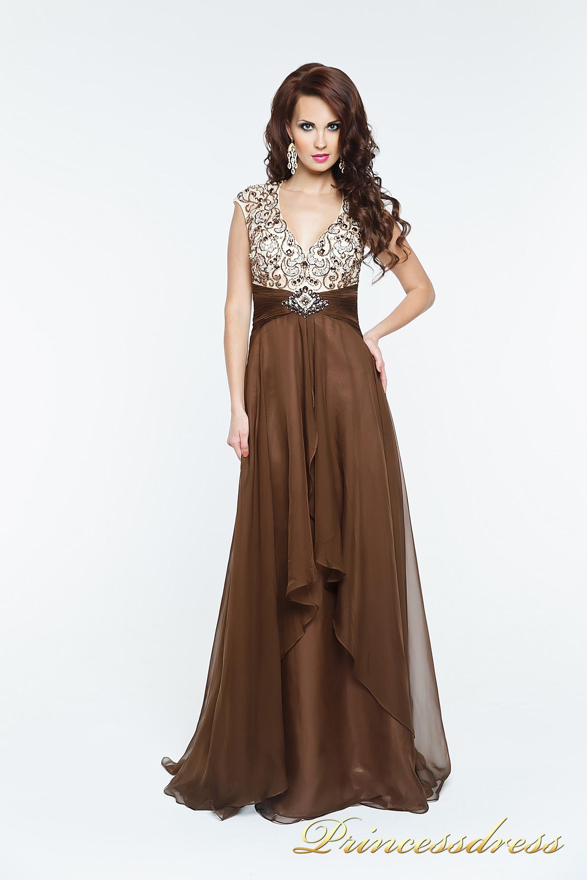 3ef5c286d3c Купить вечернее платье 140718 коричневого цвета по цене 17000 руб. в ...