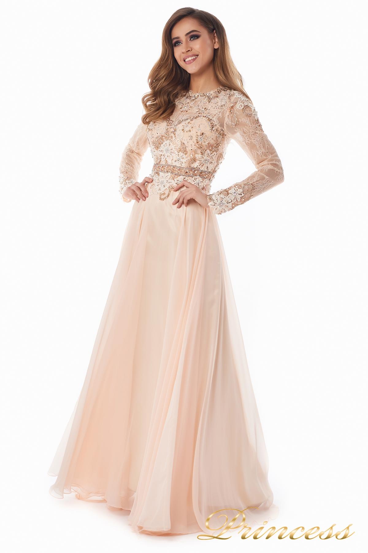 aa91ea75bfe Купить вечернее платье 2853 персикового цвета по цене 35000 руб. в ...